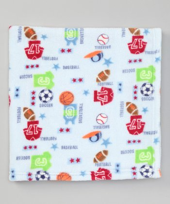 Blue Sports Fleece Stroller Blanket