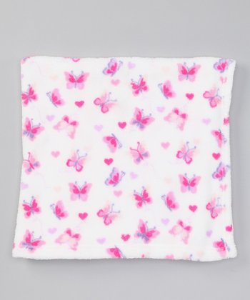 Pink Butterfly Fleece Stroller Blanket