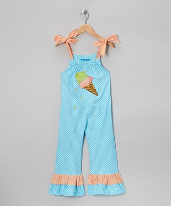 Turquoise Ice Cream Jumpsuit - Toddler & Girls
