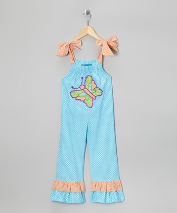 Turquoise Butterfly Jumpsuit - Toddler