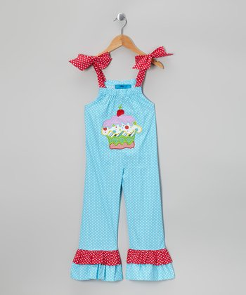 Turquoise Cupcake Jumpsuit - Toddler & Girls