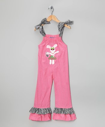 Pink & Gray Bunny Jumpsuit - Infant