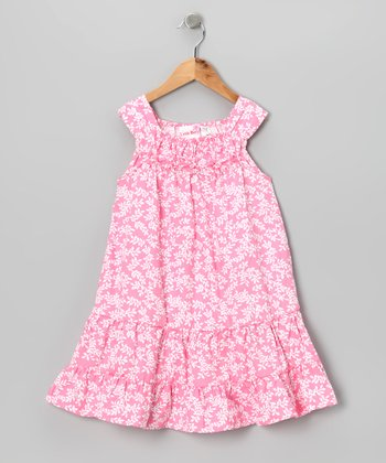 Pink & White Sprig Dress - Toddler