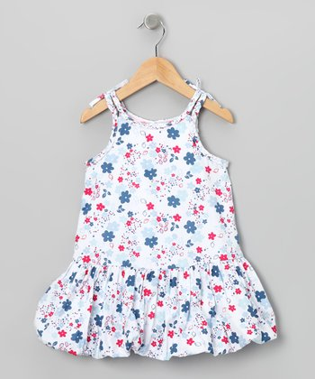 Blue & Red Floral Bubble Dress - Toddler & Girls