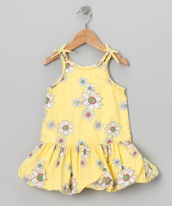 Yellow Floral Bubble Dress - Toddler & Girls
