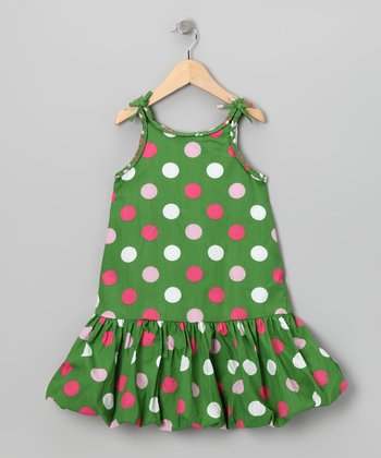 Green Polka Dot Bubble Dress - Girls