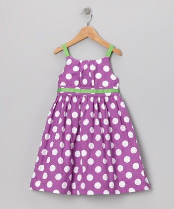 Purple & Green Polka Dot Dress - Girls