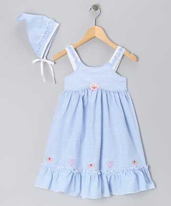 Blue Gingham Dress & Bandanna - Girls