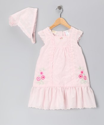 Pink Eyelet Dress & Bandanna - Girls