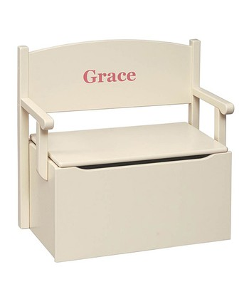 Linen Personalized Toy Box Bench