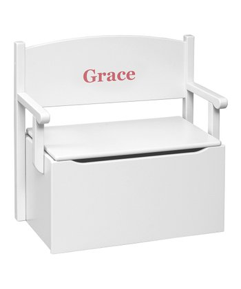 White Personalized Bench Toy Box