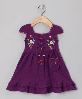 Plum Lily Cap-Sleeve Dress - Toddler & Girls