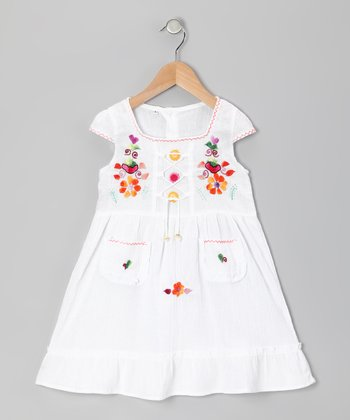 White Lily Cap-Sleeve Dress - Toddler & Girls