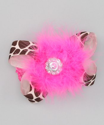 Fuchsia Giraffe Feather Bow Headband