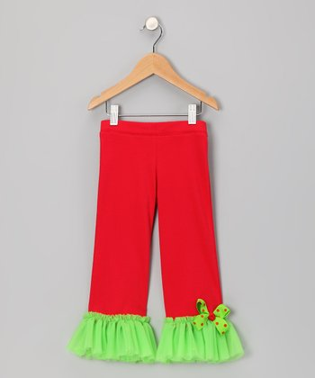 Red & Lime Ruffle Pants - Infant, Toddler & Girls