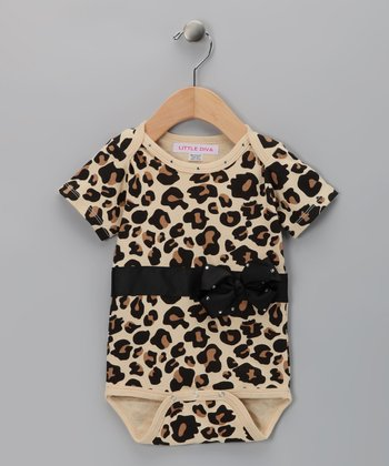 Black & Tan Leopard Bling Bow Bodysuit - Infant