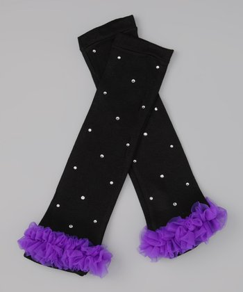 Black & Purple Rhinestone Ruffle Leg Warmers