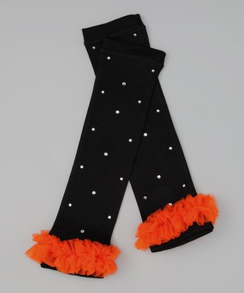Black & Orange Rhinestone Ruffle Leg Warmers