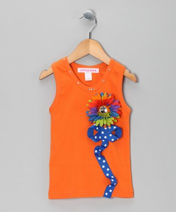 Orange Stripe Flower Tank - Infant & Toddler