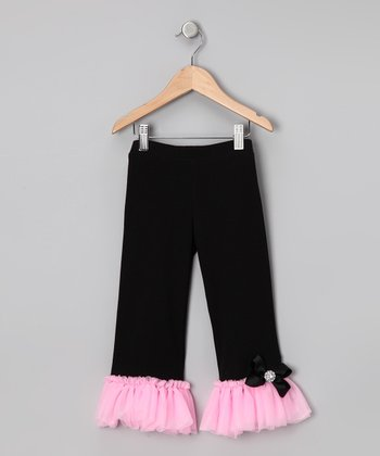 Black & Pink Ruffle Pants - Infant, Toddler & Girls