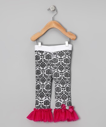 Hot Pink Damask Flare Leggings - Infant, Toddler & Girls