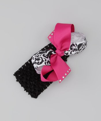 Hot Pink Damask Bow Headband