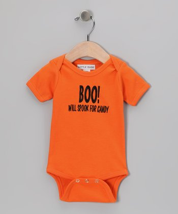 Little Dude Orange 'Boo!' Bodysuit - Infant