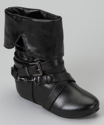 Black Buckle Fold-Over Boot