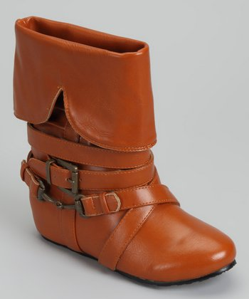 Cognac Buckle Fold-Over Boot