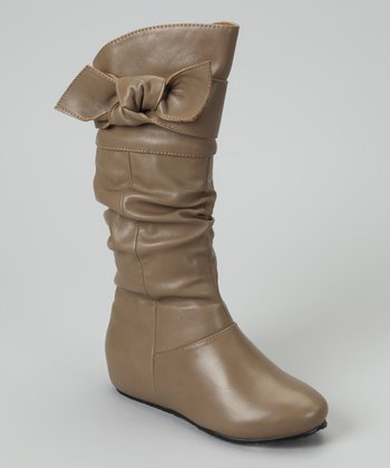 Taupe Faux Leather Candy Bow Boot