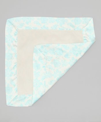 Cream & Aqua Velvet Brocade Deluxe Satin Lovey