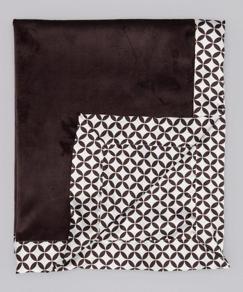 Chocolate Velvet Geo Circle Deluxe Satin Stroller Blanket