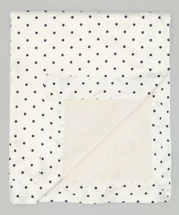 Cream Velvet Pin Dot Deluxe Satin Stroller Blanket