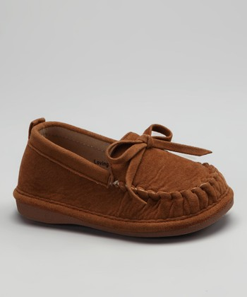Tan Suede Cocoa Squeaker Moccasin - Girls