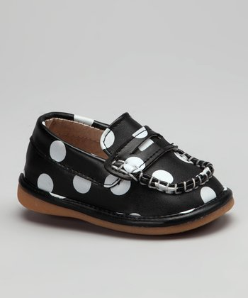 Black & White Polka Dot Lacy Squeaker Loafer