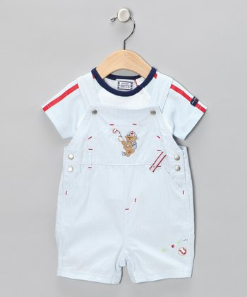 Blue Stripe Bear Tee & Shortalls - Infant