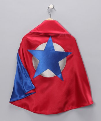 Red & Blue Soaring Star Two-Ply Hero Cape