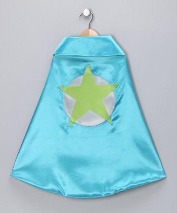 Turquoise & Lime Soaring Star Two-Ply Hero Cape