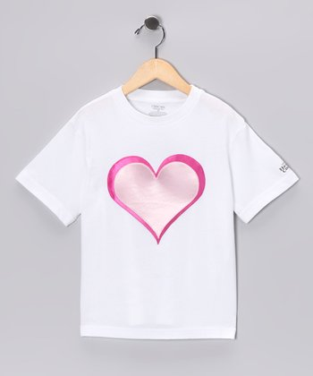 White & Light Pink Heroic Heart Tee - Toddler & Kids