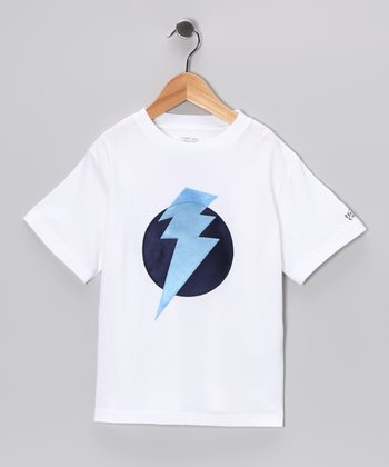 White & Light Blue Lightning Leader Tee - Toddler & Kids