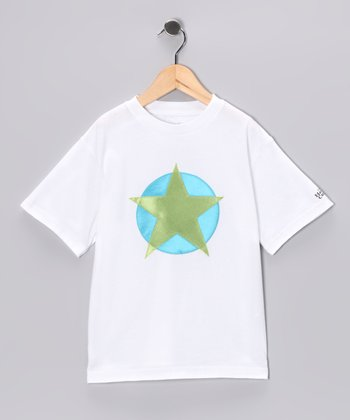 White & Lime Soaring Star Tee - Toddler & Kids