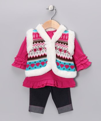 Pink Heart Vest Set - Girls
