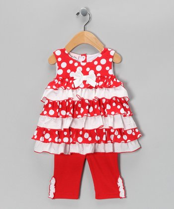 Red Polka Dot Tiered Tunic & Leggings - Toddler