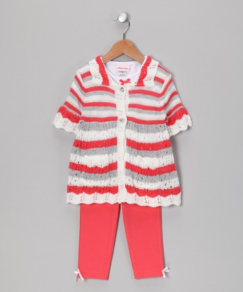 Peach & White Stripe Tunic Set - Girls