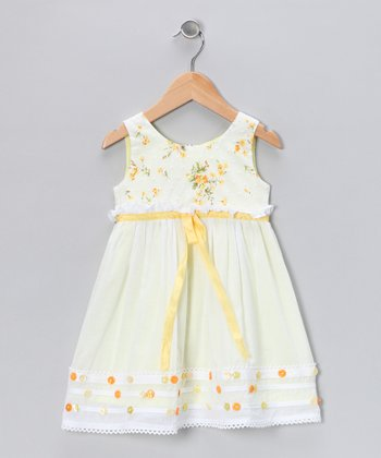 White & Maize Ribbon Dress - Toddler