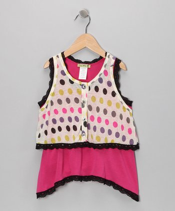 Fuchsia Disco Dot Tunic & Vest - Toddler & Girls