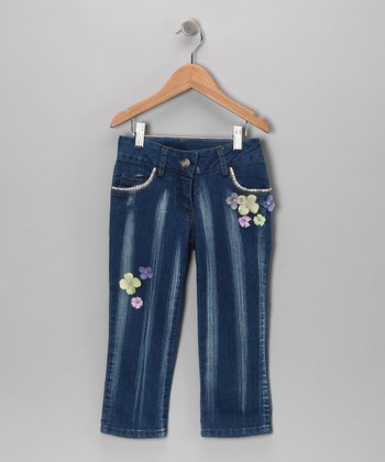 Denim Flower Doll Skinny Jeans - Toddler & Girls