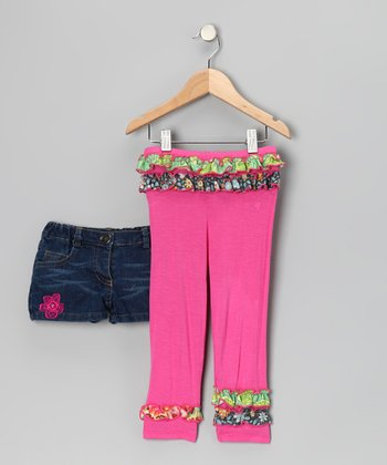 Denim Shorts & Pink Ruffle Leggings - Infant, Toddler & Girls