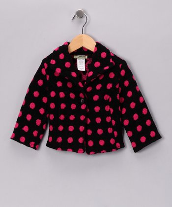 Pink & Black Polka Dot Coat - Toddler & Girls