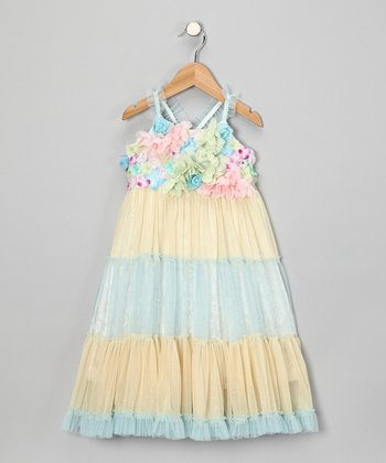 Blue Flower Tiered Dress - Infant, Toddler & Girls